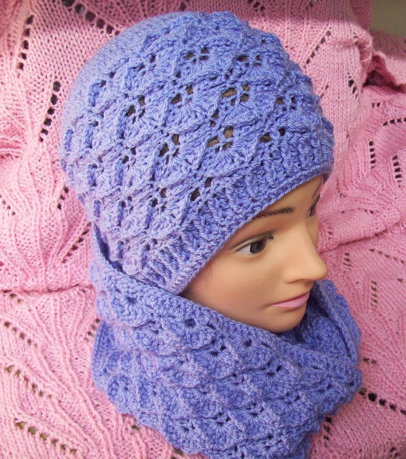 crochet dragon scale hat lilac