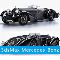 3dsMax高精度Mercedes-Benz SS Roadster 汽车3D模型下載
