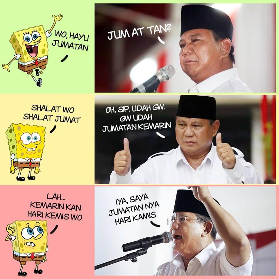 Meme tersebut berisi percakapan antara sponge bob dengan prabowo subianto