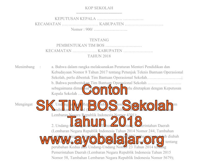 Contoh SK TIM BOS Sekolah Tahun 2018