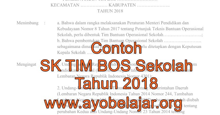 Contoh Sk Tim Bos Sekolah 2019 2020 File Doc