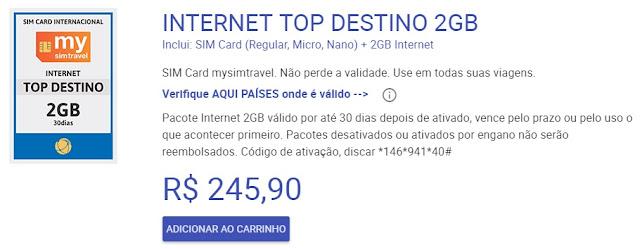 Pacote de Internet para América do Sul: Chip Pré Pago