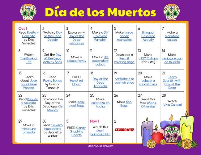 Mommy Maestra Día de los Muertos Activity Calendar
