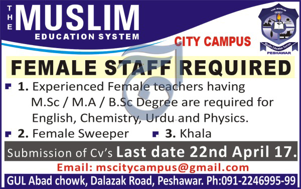 Female Staff Required in The Muslim Education System City Campus 19 april 2017
