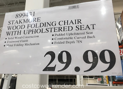 Deal for the Stakmore Wood Folding Chair with Upholstered Seat at Costco