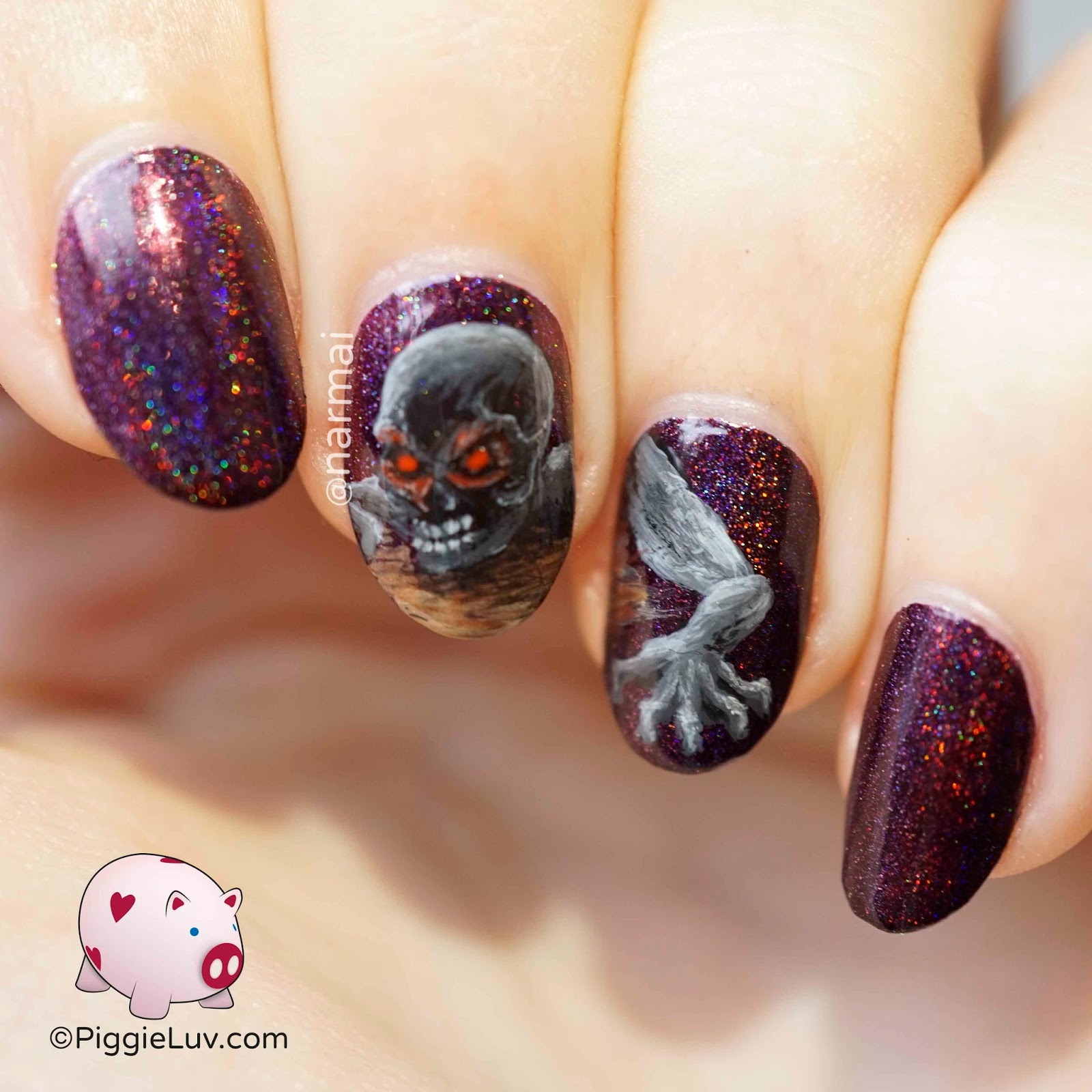 Piggieluv zombie crush nail art for halloween its your friendly neighborhood zombie crawling out of his hole to eat your brains this freak was a lot of fun to paint and also prinsesfo Choice Image