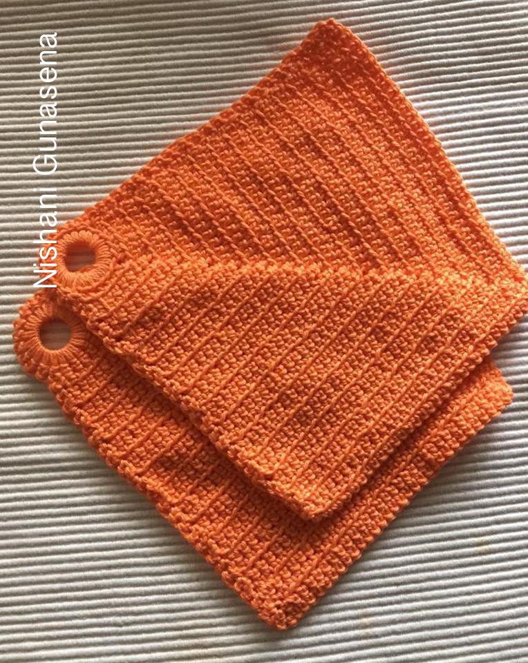 crochet-kitchen-towel-orange-color-yarn-wool