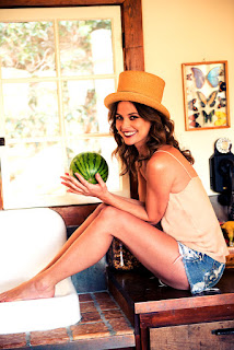 Josie Maran Smiling Pic With Water Melon