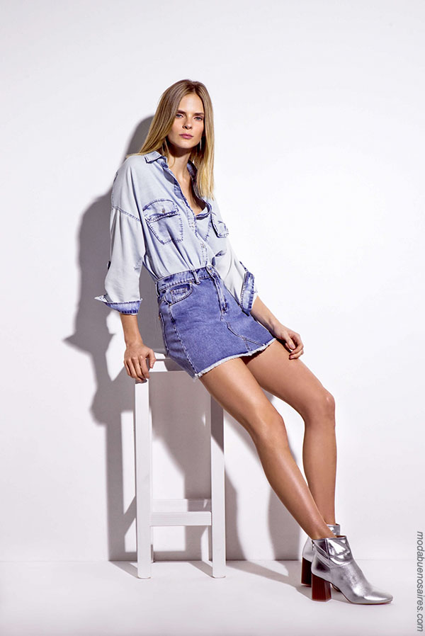 Camisas de mujer en denim moda primavera verano 2018. Moda mujer verano 2018. #Moda