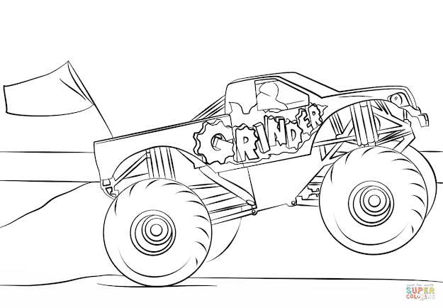 Click The Grinder Monster Truck Coloring Pages To View Printable Version Or  Color It Online Patible With Ipad And Android Tablets