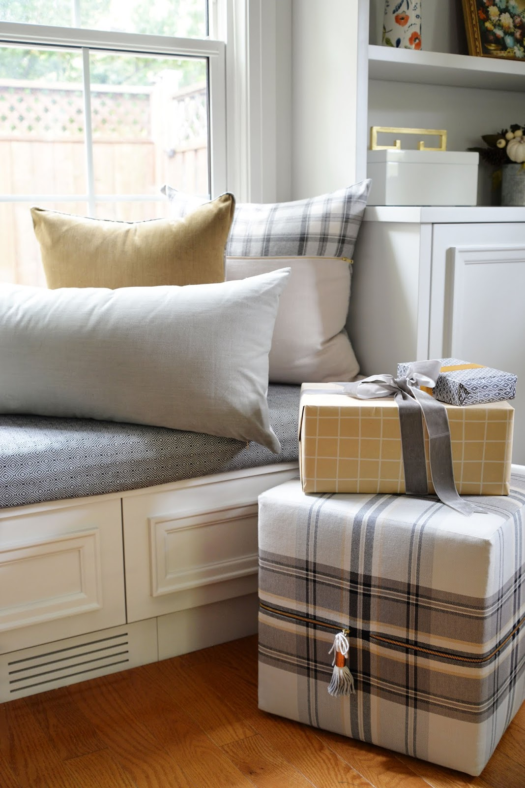 classic plaid and velvet pillows, holiday pillows, heritage holiday home decor