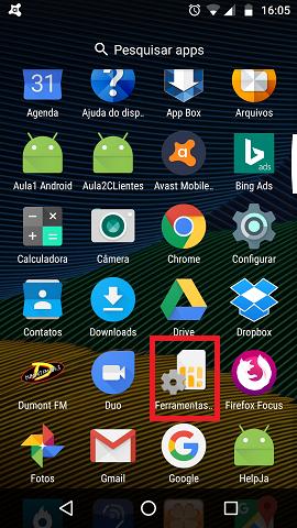 Localize o ícone Ferramentas do SIM