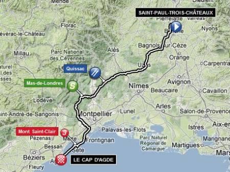 Mapa 13ª etapa Tour de Francia 2012Saint-Paul-Trois-Châteaux / Le Cap d'Agde