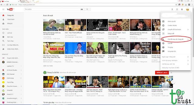 Cách bật giao diện Dark Mode của youtube để bào vệ mắt