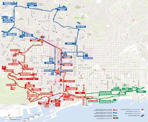 Rotas do Barcelona Bus Turistic