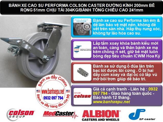 Bánh xe cao su có khóa chịu lực 304kg Colson phi 200 | 4-8199-459BRK1 www.banhxedaycolson.com