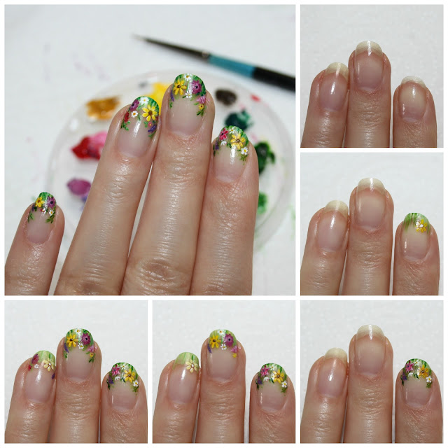 Wildflowers Negative Space Nail Art