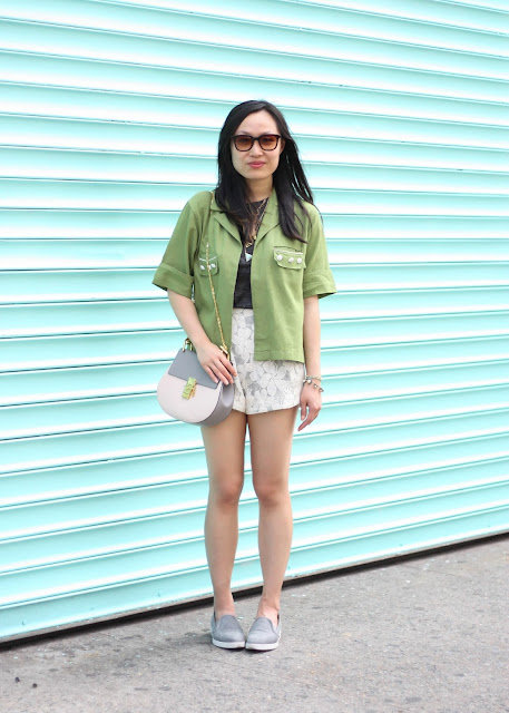 Army Green Jacket and Lace Shorts