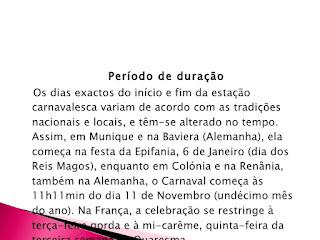 Periodo de Duracao do Carnaval