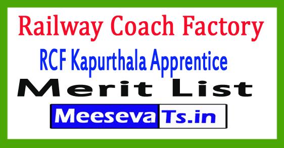 Railway Coach Factory RCF Kapurthala Apprentice Merit List 2017