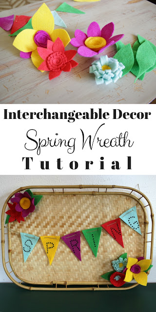 Spring wreath with tray and felt flowers