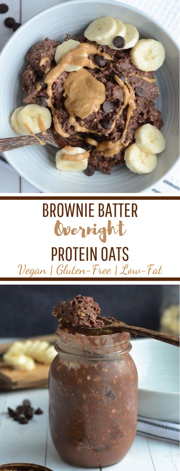 Brownie Batter Overnight Protein Oats #healthybreakfast #lowfat