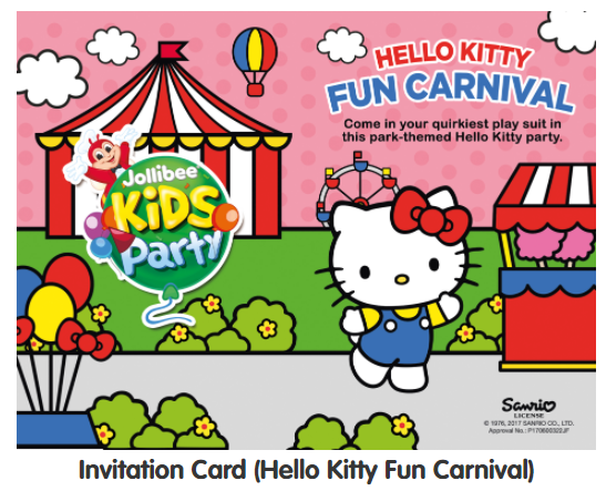 Invitation card for Jollibee Party Theme - Hello Kitty Fun Carnival