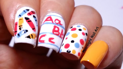 Back to School Nail Design - Pencils Notebook