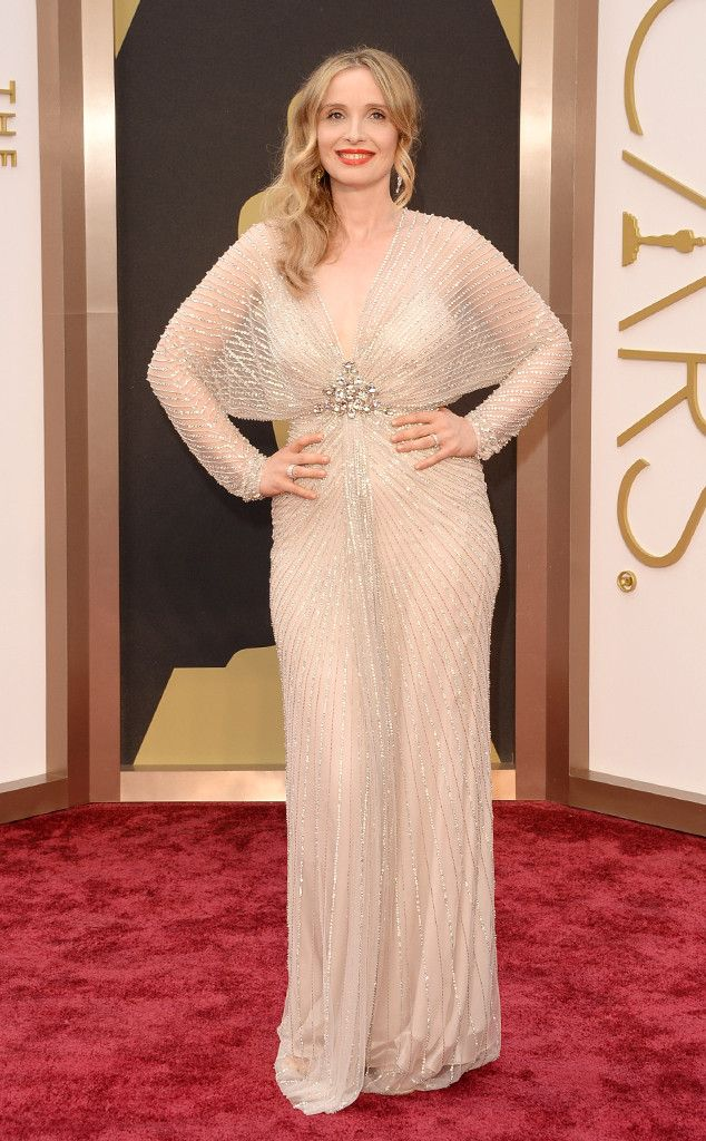 Julie Delpy in a glamorous Jenny Packham dress at the Oscars 2014