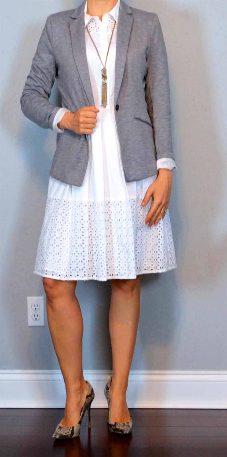 edbe729ef04 outfit post: white sleeveless eyelet shirtdress, grey jersey blazer,  pointed toe snakeskin pump