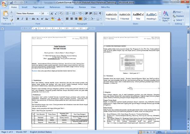 Contoh Format Penulisan Makalah Hasil Penelitian Teknologi