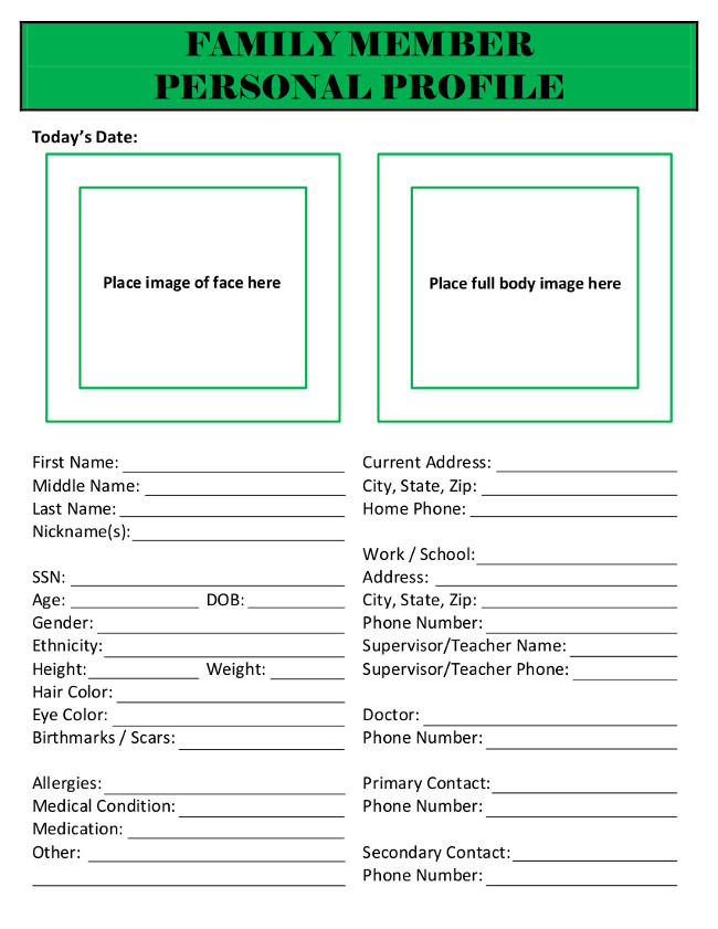 html templates for personal profile - family member personal profile emergency binder the