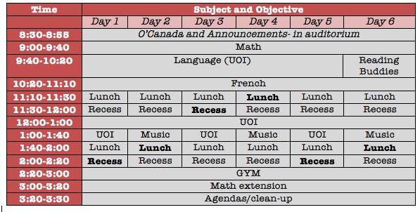 Tentative Schedule (adjusted Sept. 5)