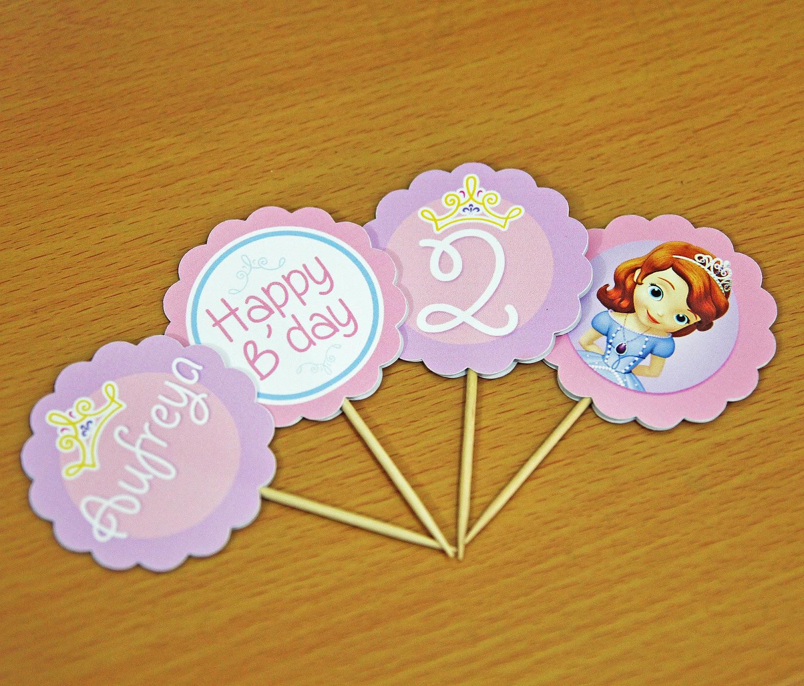 Comment on this picture ulang tahun anak contoh undangan kartu apps - Undangan Cupcake Topper Dan Bunting Flag Ulang Tahun Princess Sofia