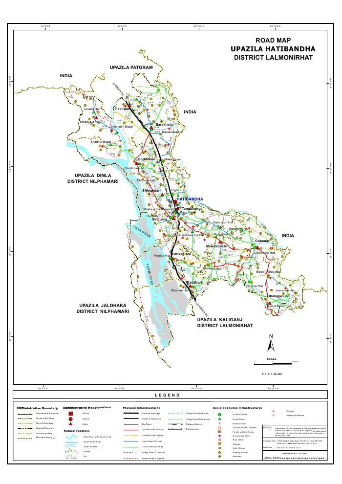 Hatibandha Upazila Road Map Lalmonirhat District Bangladesh