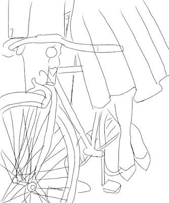 Rysunek Pary Młodej na rowerze.