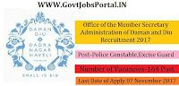Office of the Member Secretary Administration of Daman and Diu Recruitment 2017–– 164 Police Constable, Excise Guard