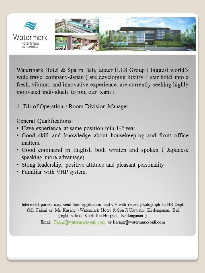 Room Division Manager Job Watermark Hotel Spa