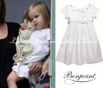 22685a9f3 Vivienne Jolie Pitt in Bonpoint & Juicy Couture! Vivienne was wearing White  Dress ...