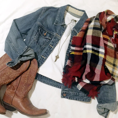 maroon plaid blanket scarf outfit idea