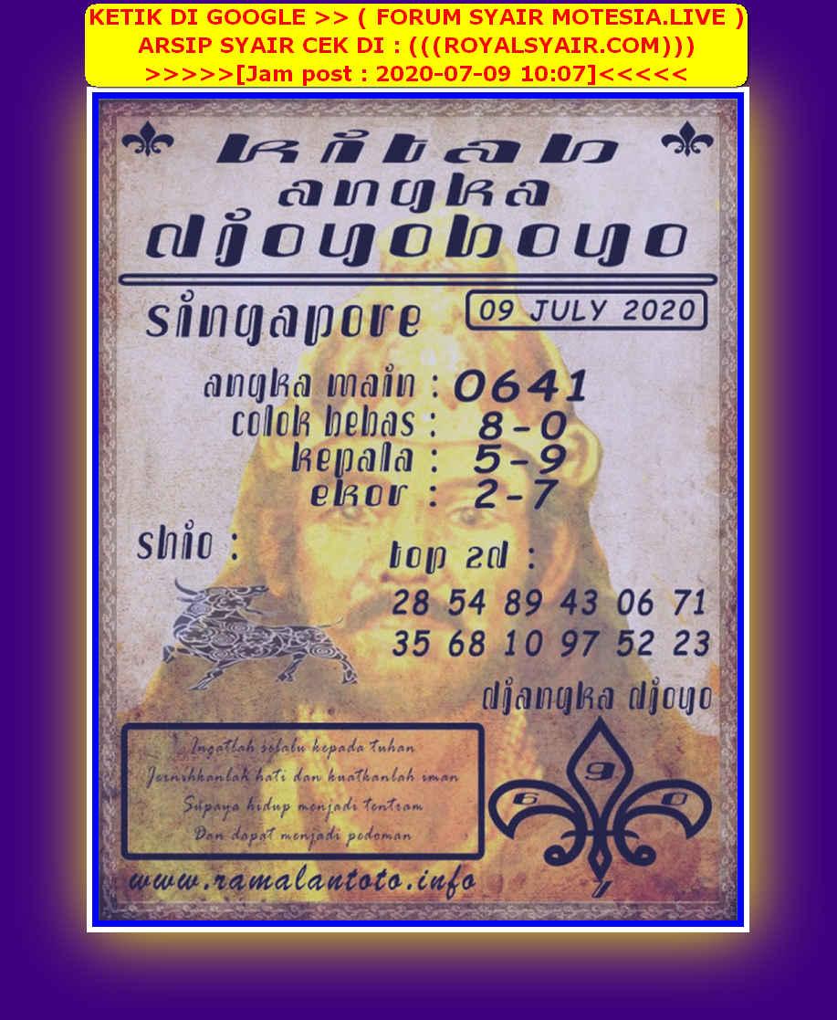 Kode syair Singapore Kamis 9 Juli 2020 121