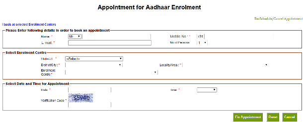 How to Book Online Appointment for Aadhaar Enrolment