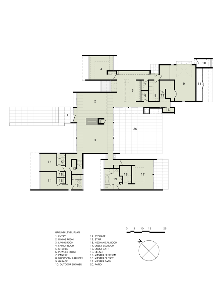 Ground floor plan of Sam's Creek Home by Bates Masi Architects