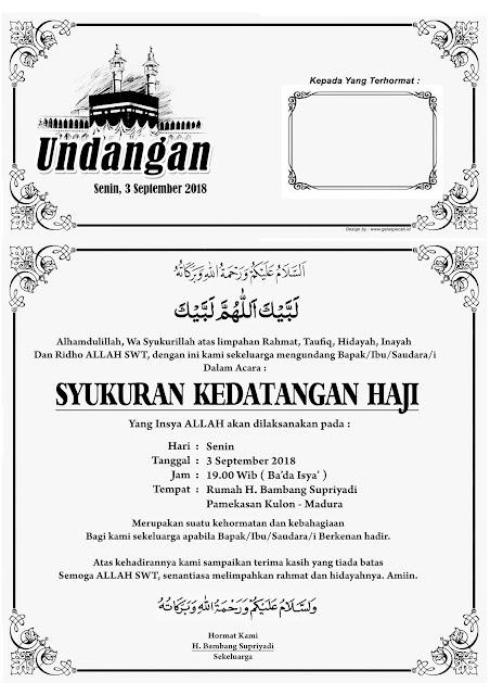 contoh undangan syukuran kedantangan haji - tasyakuran keberangkatan haji
