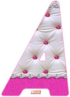 Abecedario con Diamantes y Glitter. Alphabet with Pink Glitter and Diamonds.