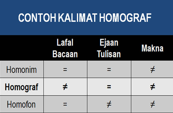 Contoh Kalimat Homograf