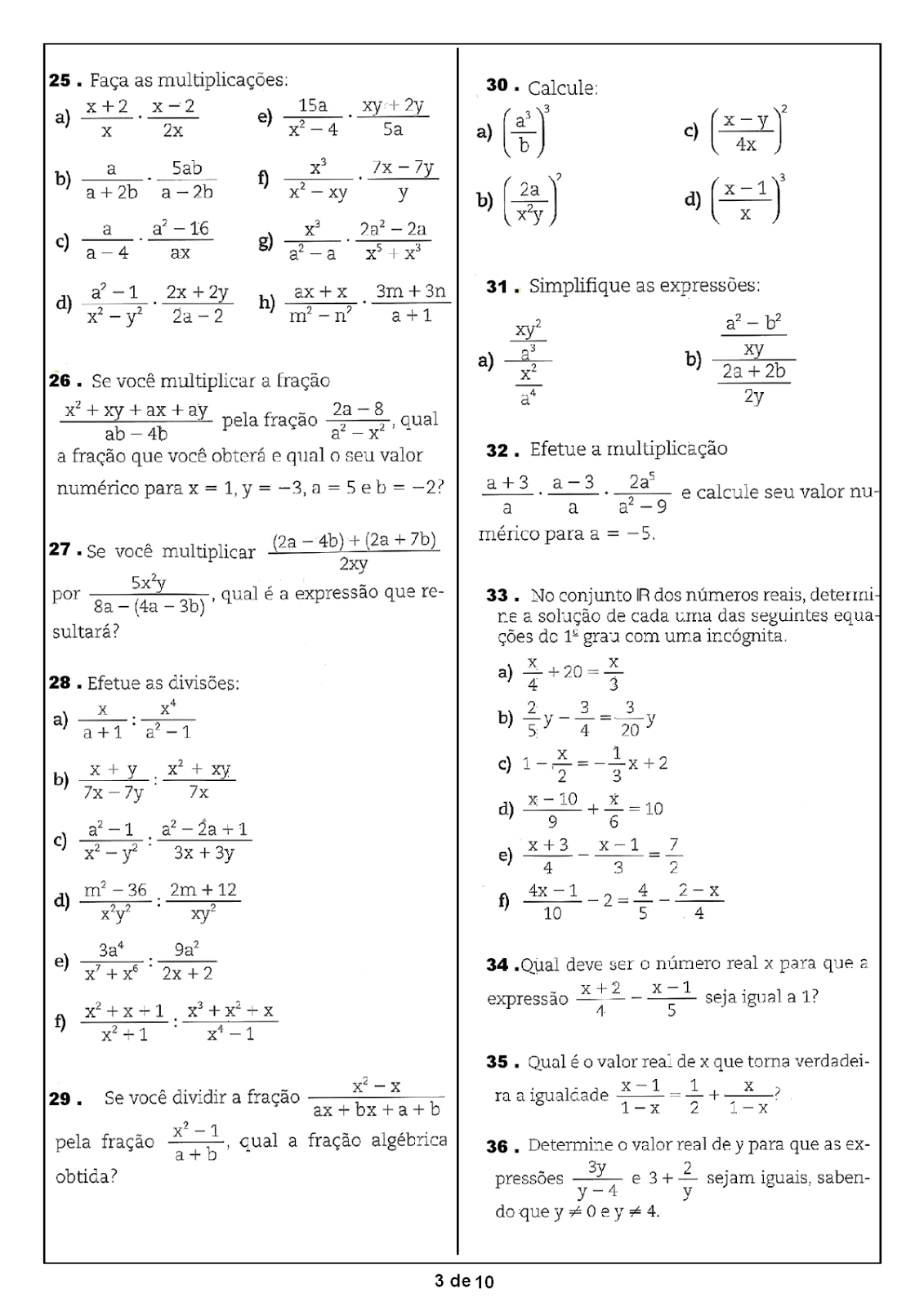 Portal Escola Matematica 8 Ano 190 Atividades Com Gabarito Exercicios Provas Avaliacoes Ii
