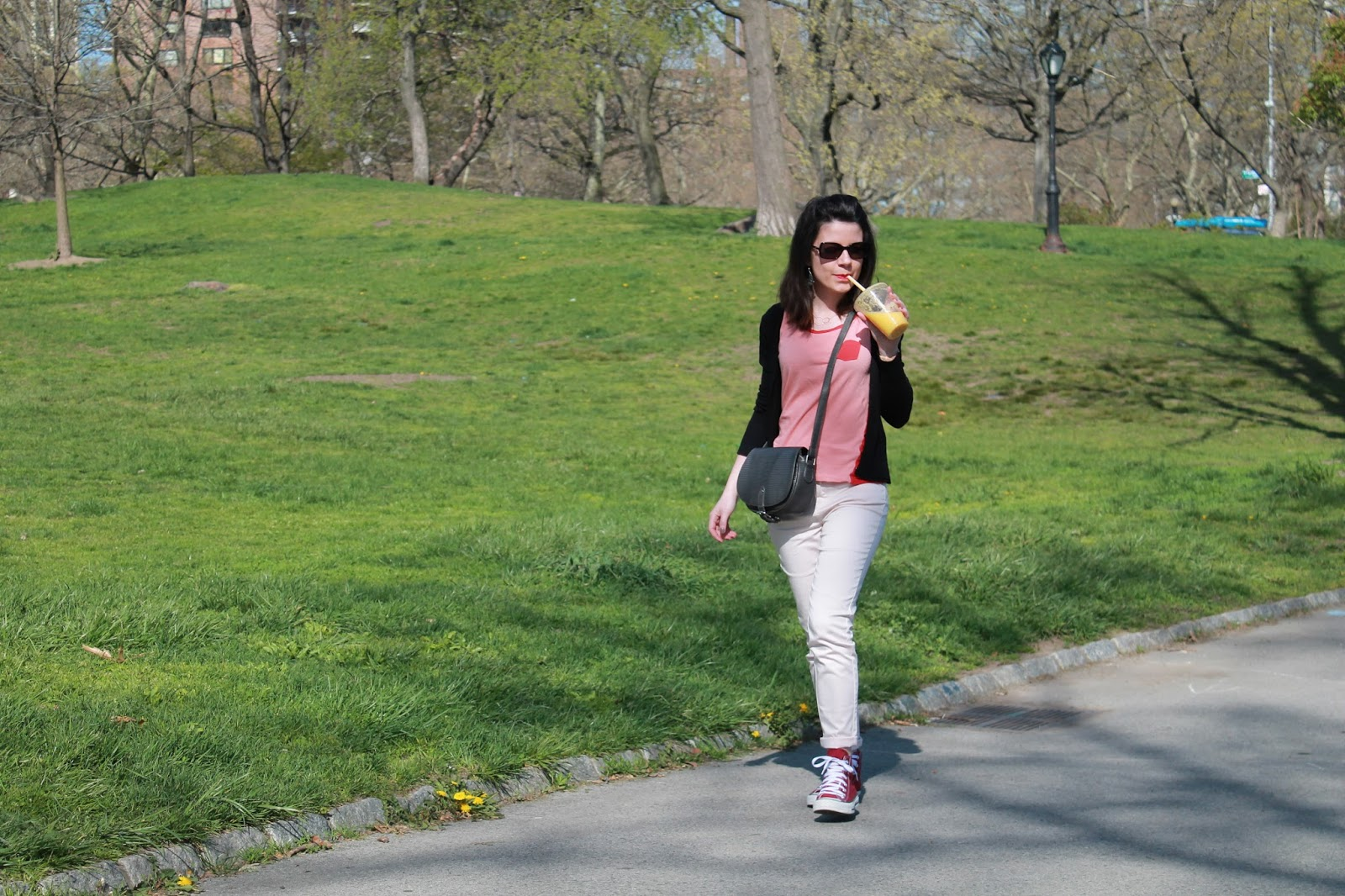 look lookbook ootd mode femme shooting photo central park nyc new york city morning monoprix etam smoothie converse all stars cherry blossom chanel sunglasses dressing post blog les gommettes de melo gomette camaieu