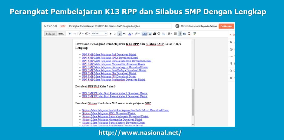 Perangkat Pembelajaran K13 RPP dan Silabus SMP Dengan Lengkap