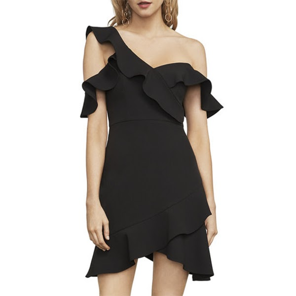 268 Bcbg Maxazria Malik Black Asymmetrical Ruffle Dress